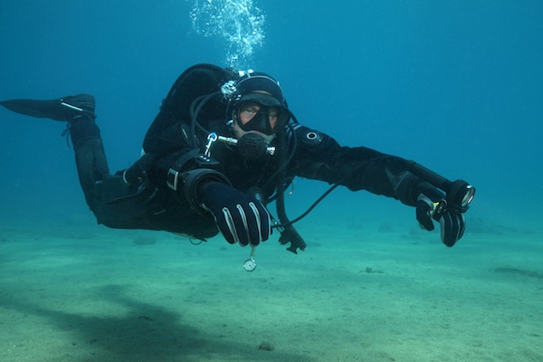 Diver in drysuit